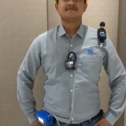 Pemakaian alat monitoring K3 (Sampling Pump & Noise Dosimeter)   pada pekerja
